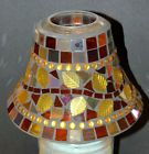 YANKEE CANDLE Multi-Color Mosaic Leaves Stained GLASS Jar CANDLE SHADE Topper