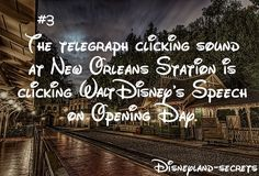 Disneyland Secrets: The New Orleans Square Disneyland Railroad train station features the telegraph clicking sound that is actually Walt Disney's speech from the opening day of Disneyland. Disneyland Secrets, Disney Secrets, Disneyland Trip, Disney Tips, Disney Vacations, Family Vacations, Cruise Vacation, Family Travel, Walt Disney