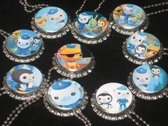 octonauts bottlecap party favors lot of 10 ball chain necklace lot. $15.50, via Etsy.