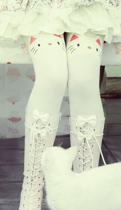 Kitty kawaii white cat tights | Cutesykink UK