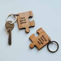 Personalised Wooden Gift Missing Piece Jigsaw Keyring by Create Gift Love, the perfect gift for Explore more unique gifts in our curated marketplace. Personalised Keyrings, Personalized Gifts, Personalised Favours, Gifts For Dad, Gifts For Friends, Hessian Bags, Love You To Pieces, Sending Hugs, Leather Keyring