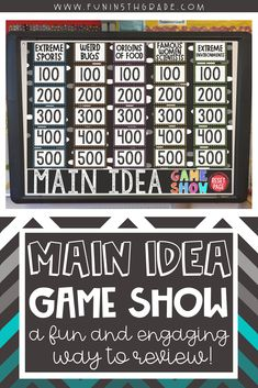 Main Idea Game Show is a great way to teach and review finding the main idea to passages.  Upper elementary students will love this PowerPoint game show because it is engaging and fun!  This engaging reading resource is great to use for test prep and to learn to differentiate between supporting details and main idea!