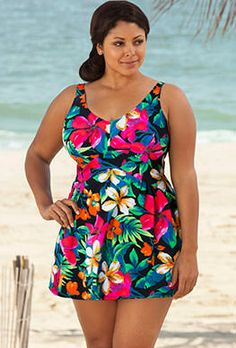 Beach Belle Fiji Plus Size V-Neck Swimdress Curvy Girl Fashion, Plus Size Fashion, Womens Fashion, Big And Tall Outfits, Plus Size Outfits, Top Clothing Brands, Women's Plus Size Swimwear, Girls In Panties, Full Figure Fashion