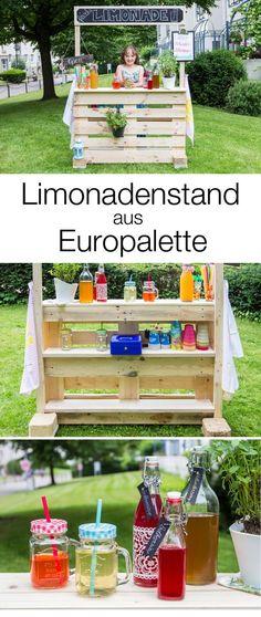 Limonadenstand / Verkaufsstand aus Europalette bauen - ich zeige euch in diesem DIY, wie ihr selbst einen Limostand bauen könnt: mrsberry.de