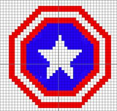 Captain America shield crochet pattern... i would revise to make the star bigger