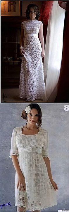 Белые платья на спицах и крючком. Подборка.