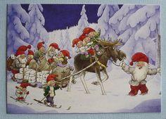 Rolf Lidberg Gnomes and Elk Moose Sled Sweden Art Card