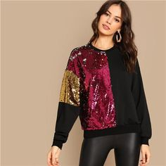 Highstreet Sequin Contrast Color Block Round Neck Pullover Women Sweatshirts - Size XS to L - Damen Mode 2019 Look Fashion, Autumn Fashion, Fashion Outfits, Womens Fashion, Fashion Design, Ladies Fashion, Fashion Ideas, Athleisure Trend, Casual Fall