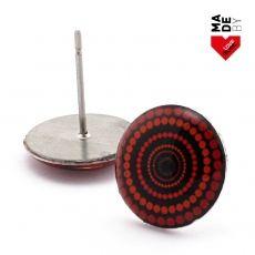 Náušnice pecky - Vertigo černočervenooranžové