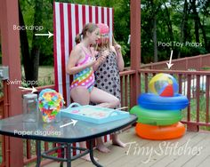 DIY - Photo Props Set Up - Beach Balls, Ring Floats, Bathing Caps, Sunglasses, Mustaches Pool Party Themes, Pool Party Kids, Pool Party Decorations, Luau Party, Party Ideas, Beach Party, Diy Party Photo Booth, Photo Booth Props, Back To School Party