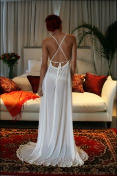 Bridal Nightgown Backless Bridal Lingerie Sleepwear Wedding Lingerie Stretch French Netting Sophie Slip Gown Sarafina Dreams Honeymoon