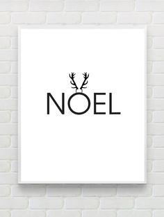 Noel Print, Printable Christmas Print, Christmas Wall Art, Deer Antler Print Minimalist Black White Print Holiday Printable Instant Download  This