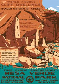 Square Tower at Mesa Verde National Park by Ranger Doug in the style of the old WPA Posters.