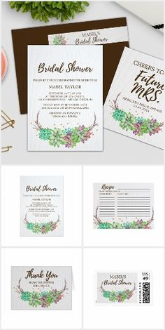 Rustic Floral Succulent Bridal Shower Invite Set Bridal shower invitation + paper set featuring lovely colorful green, pink and purple succulents arranged on a branch wreath and accented with faux gold confetti. This rustic country or desert theme collection includes all of the essentials: invites, stamps, labels, recipe cards, games, thank you cards, and more. If you would like a product made just for you to coordinate with this set, please contact me and I would be happy to create it for…