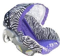 a zebra purple car seat