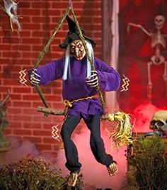 Halloween-Hanging-Witch-Prop-Talking-Animated-Scary-Decoration-Spooky-Lighted