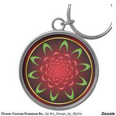 Flower Custom Premium Round Keychain