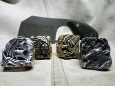 Shiny vs patina, brass and silver rings