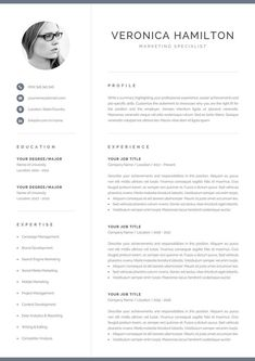 Professional CV template with photo. Includes one-page and two-page CV templates with cover letter and references in matching designs. Power up your CV with an effective design and land the interview you want. One Page Resume Template, Modern Resume Template, Creative Resume Templates, Creative Cv, Cover Letter For Resume, Cover Letter Template, Resume References, Blogging, Microsoft Word 2007