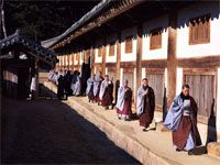 Monks at Beomeosa Temple, South Korea