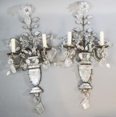 Silver leaf metal, faceted and tear drop rock crystal, foil back . on Nov 2017 Crystal Wall, Crystal Drop, Grey Room, Wall Sconces, Mirrors, White Rooms, Interior Styling, Interior Design, Chandelier Lighting