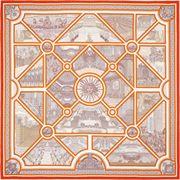 La Maison des Carrés Hermès   90 x 90 cm scarf Flânerie à Versailles orange  Carré 41a38cee58a