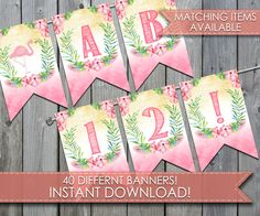 Flamingo Banner, Flamingo Bunting Banner, Flamingo Hanging Banner, Flamingo Decoration, Happy Birthday Banner, Instant Download, #293 by PerfectPrintableCo on Etsy