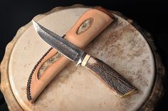 Collectors knives, special custom order knives made out of stainless steel Damascus, multicolored handle, mastodon ivory, with antlered handles