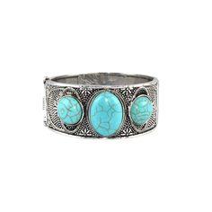 Bracelete Pedras Azul Turquesa Prata Velha