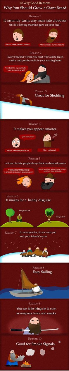 Ten very good reasons why you should grow a giant beard. Funny and true! My husband says he wears a beard for work because people are more likely to recognize him as the one in charge. When he goes beardless, they instead seek help from the other bearded employee. Haha!