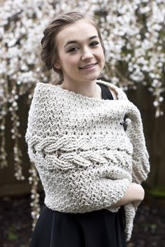 Cabled Cozy Crocheted Wrap that can be worn a number of different ways... Catrina Cabled Wrap  by Bonnie Barker CROCHET ALONG begins JAN. 18th on the Bonnie Bay Crochet Youtube channel!                                                                                                                                                                                 More