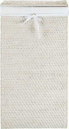 White rattan wash basket