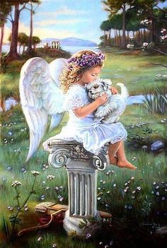 Angel and white puppy Angel Images, Angel Pictures, I Believe In Angels, Art Students League, Angels Among Us, Guardian Angels, Angel Art, Rainbow Bridge, Art Inspo