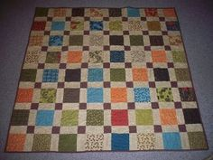 Magically Self Sashing Disappearing Nine Patch Quilt - uses 68 colored, 68 neutrals with 17 same dark color in center of 9 patch, once cut all set the same way = COR donation quilt