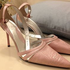 ⬇REDUCED⬇Pale Pink Gianni Bini strapy heels Never worn outside of the house.  It's pale pink with silver metallic. There is a stain on the left shoe as pictured, other than that its in perfect condition. Priced to sell.  No box. Gianni Bini Shoes Heels
