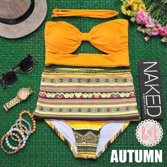 Autumn - Retro Vintage Pin Up Handmade Orange Yellow Abstract Cut Out Bandeau High Waist Bikini Swimsuit Swimwear on Etsy, $48.99. I'm in love!  I just may have to get this for sumner