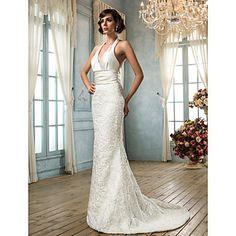 trompette / sirène v-cou satin et la robe de mariée en dentelle (604627) - EUR € 206.24