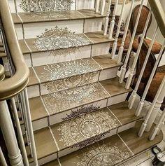 Mandala Stenciled Staircase Designs using Cutting Edge Stencils DIY stencil Patterns