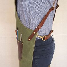Waxed canvas and leather apron For Craftspersons and por StudioBT