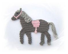 Crochet applique – applique – patch – crocheted gray horse with half … Crochet Applique Patterns Free, Crochet Animal Patterns, Stuffed Animal Patterns, Crochet Animals, Crochet Motif, Crochet Doilies, Crochet Flowers, Knitting Patterns, Crochet Fairy