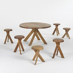 182: Pierre Chapo / dining table and six stools <1960