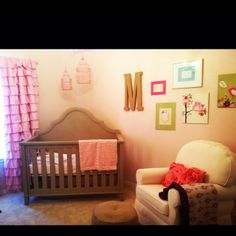 Baby girls nursery- love the ruffle curtains!!
