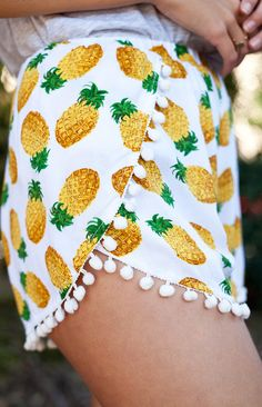 pineapples, boutiqu, beaches, teen fashion, pom poms, inspiration, pineappl short, summer shorts, print