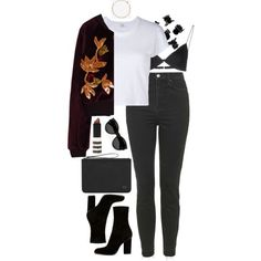 Untitled #467 by lindsjayne on Polyvore featuring polyvore, fashion, style, RE/DONE, Topshop, T By Alexander Wang, Alexander Wang, H&M, Yves Saint Laurent and clothing