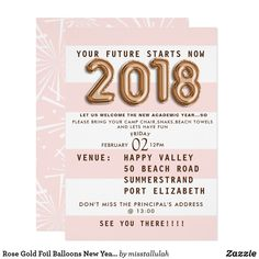 Rose Gold Foil Balloons New Year's Eve Party Card