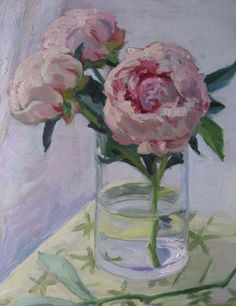 Pink Peonies oil-on-panel painting by Musette Morgan, 9'' x 12'', $1,200; also available through Kemble Interiors