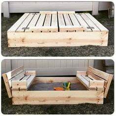 Awesome sandbox, could double as a seating spot with cushions and a little table on top.