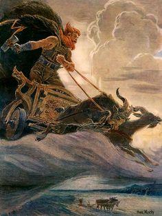 Als kind al was hij sterk, en daarnaast moeilijk opvoedbaar. Daarom werd hij opgevoed door twee bliksemgeesten, Vingir en Hlora. Hij groeide uit tot een enorme man, bijna een reus, met dezelfde kracht, en zijn hamer Mjollnir maakte hem nog sterker.