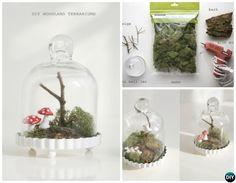 Mini Bell Jar Woodland Terrarium-DIY Mini Fairy Terrarium Garden Ideas