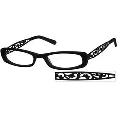 A full rim black acetate frame with adjustable stainless steel, stylized floral grill temples with matching temple tips.